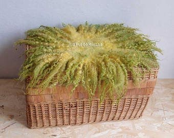 Curly felted blanket layer newborn props kiwi green newborn medium flat fur basket filler, newborn prop blanket, photography baby photo prop
