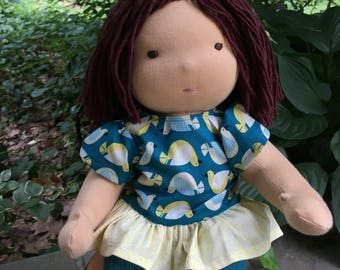 Reserved listing for kathrynbhom: Balance Waldorf Inspired Button-Jointed Doll Baby Doll plus Pajamas  16 - 17 inch Noble Doll