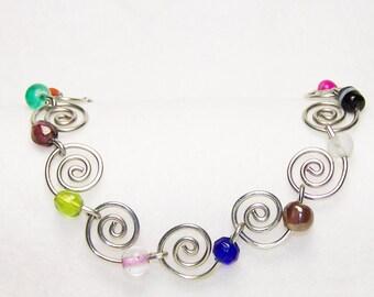 Silver Spiral Beaded Bracelet, Multi-Colored Beaded Silver Bracelet
