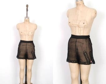 MEMORIAL WEEKEND SALE... Vintage 1930s Tap Shorts / 30s Black Silk Chiffon Tap Pants / High Waisted (large L)