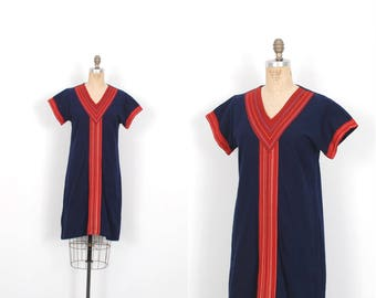Vintage 1970s Dress / 70s Striped Cotton Shift Dress / Blue and Red ( S M )