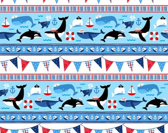 First Mate Nautical Fabric Sea Life Ocean Whale Orca Bunting Stripe