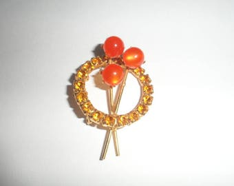 Beautiful Vintage Estate Orange Rhinestone Brooch Pin