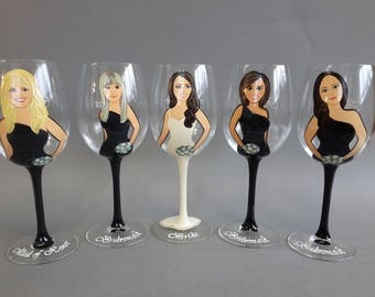 Bridal shower party Gift for Bridesmaids and Maid of Honor Personalized glasses Portraits and bridesmaids dresses