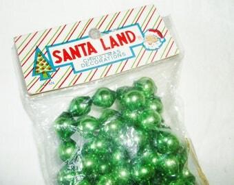 Vintage SANTA LAND Green Mercury Glass Bead Christmas Garland • Japan