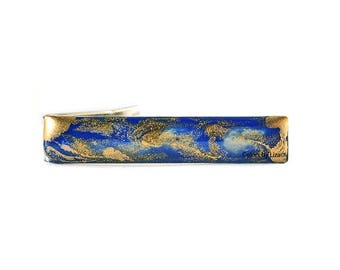 Cobalt Blue Tie Clip Hand Painted Enamel Quartz Inspired Available in Other Colors