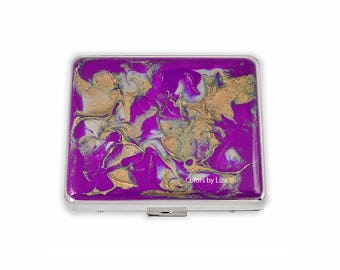 Weekly Pill Box Hand Painted Orchid Purple Enamel Quartz Inspired with Personalized and Color Options