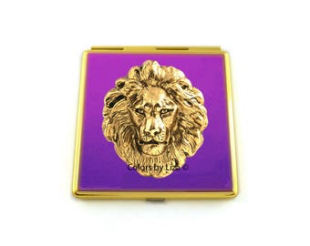 Gold Lion Head Compact Mirror Inlaid in Hand Painted Enamel Purple Enamel with Color and Personalized Options Available