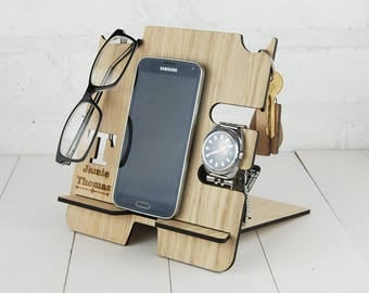 Personalised Docking Station - Multi item storage - Electronic Stand - Wooden Mobile Phone Stand - Initial & full name personalisation