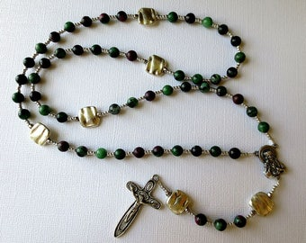 Ruby Zoisite Rosary, Green and Red July Birthstone Rosary