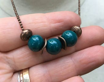"""Ceramic Teal & Copper Necklace   Blue """"Caribbean"""" Artisan Ceramic Fair Trade Clay Beads Made In Cambodia Strung on Antique Ball Chain"""