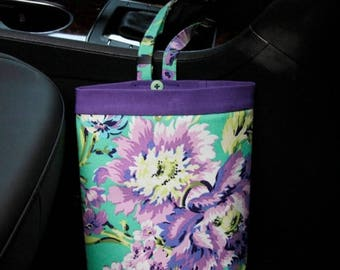 ON SALE CAR Trash Bag Amy Butler Love Bliss Bouquet in Emerald, Women, Car Litter Bag, Auto Accessories, Auto Bag