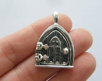BULK 5 Fairy door locket pendants antique silver tone P472