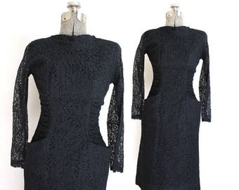 ON SALE 1950s Dress / Black 50s Dress / 50s Black Lace Dress