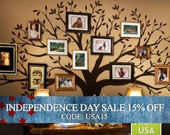 Independence Day Sale - Wall Decal Family Tree Wall Decal Sticker Family Photo Tree Family Like Branches on a Tree Vinyl Wall Sticker Photo