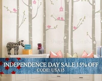 Independence Day Sale - Birch Tree Decal,  Birds Wall Sticker Set, Baby Nursery Wall Decals, Nursery Wall Stickers, Girls Nursery, Boys