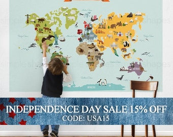 Independence Day Sale - World Map, Kids World Map Poster, Educational Map for Kids, Peel and Stick Poster Sticker, Wall Sticker Map, The
