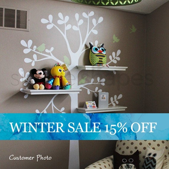 Like this item. Wall Decals Baby Nursery Decor  Shelving Tree Decal with Birds
