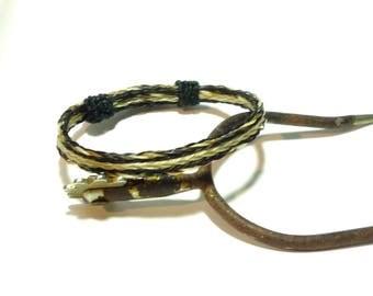 Horsehair Adjustable Bracelet - Braided Horsehair Black and White with a bit of light Sorrel Triple Braid Reversable