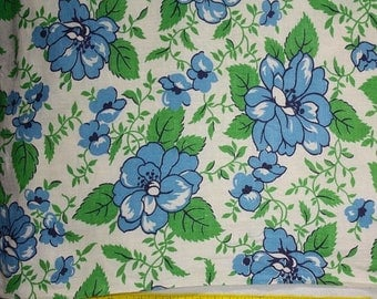 """Black Friday Sale Feedsack Fabric  37"""" x 36""""  Big Blue Roses with Bright Green Leaves 36"""" wide Vintage Feedsack Cotton Quilt Fabric"""