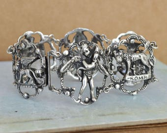 VINTAGE FIND antique 800 silver Italian Florentine bracelet, Peruzzi style heavy large bracelet, statement piece, Victorian gothic bangle