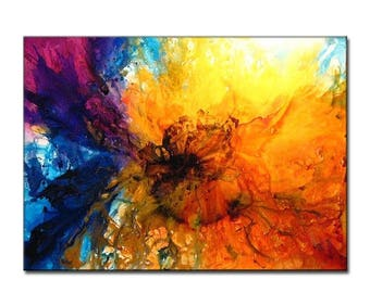 Huge Abstract Painting ,Original Contemporary Modern Colorful Canvas Art by Henry Parsinia 60X44