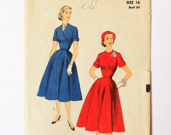 1950s Dress pattern, full skirt, wasp waist, shaped midriff, wrap bodice, vintage sewing pattern, Advance 6391 misses size 16, bust 34