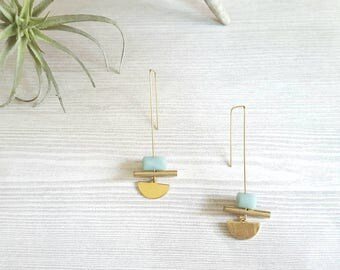 Modern Earrings Gold Threader Earrings Amazonite Earrings Brass Earrings Minimalist Jewelry Minimalist Earrings Dynamo U Shape Earrings