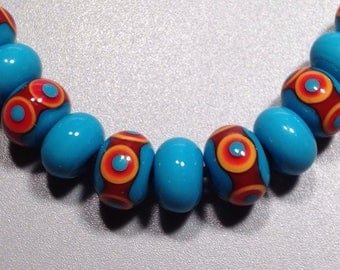 Carnival - Red, Yellow & Turquoise Handmade Lampwork Glass Beads Accents Spacers -SRA #B177