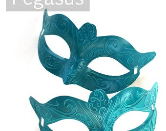 Teal Blue Phantom Venetian costume Mask for decorating (M02) Plastic light Masquerade mask for costume balls, mardi gras, and Carnivale