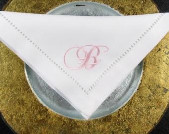 4 White No Iron  White Linen Look  Monogrammed Hemstitched Napkins