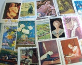 25 Postage Stamps of Art, Vintage Stamps, Postage stamps, Famous Paintings