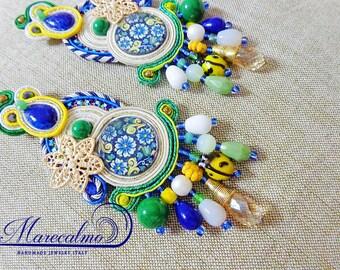 Tile folk Earrings, Soutache Earrings, chandeliers, azulejos tile sicily earrings, italian style, fiber art earrings, made in Italy, gitana