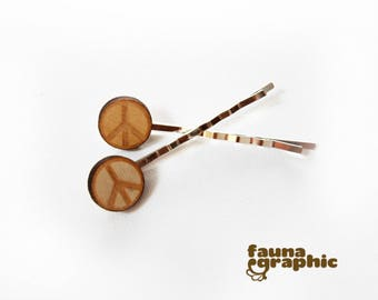 CND  Nuclear Disarmament Peace Sign Hairpin Hairslide Bobbypin Boho Nature Style