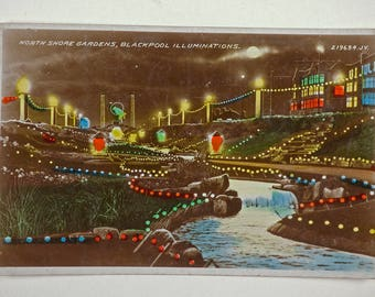 Vintage postcard, Blackpool souvenir, night scene with illuminations, a collectible 1933 postcard with cancelled stamps, North Shore Gardens