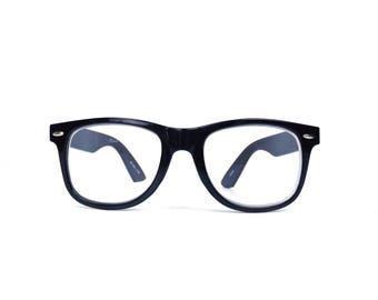 vintage 90s black wayfarer 1.50 reading glasses oversized round plastic frames men women eyewear retro modern eyeglasses readers cheaters