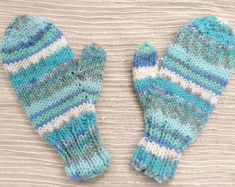 Children's Mittens - Toddler's Mittens - Hand Knit Mittens - Machine Washable and Dryable - Gift for Parents - Blue, White, & Turquoise