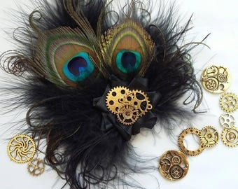 Small Black Peacock Feather & Watch Cog Gears Steampunk Style Mini Fascinator Hair Clip Wedding Cosplay - Made to Order