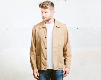 Men's 60s Mod Jacket . Brown Jacket Vintage Rockabilly Button Up Bowling Jacket Coat Outerwear Cotton Jacket 1960s . size Large