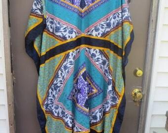 vintage  80s colorful  designs  KAFTAN Dress  /lounger/ hostess   polyester one size...