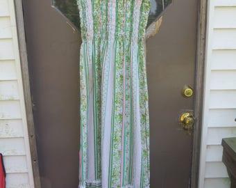 1970s  tube top sleeveless pastels  flowers  and fruit  / stripes  hippie boho maxi dress
