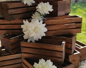 2 DAY SALE ONLY wedding centerpiece flower planter box , wooden crates , Rustic wood crates , table centerpiece , flower vases , wedding dec