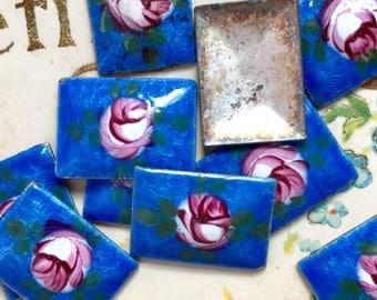 2 Vintage Guilloche cabochons, blue guilloche, Enamel Cabochons, Rectangle cabochons, vintage NOS ,Rose Floral Cloisonne #1271A