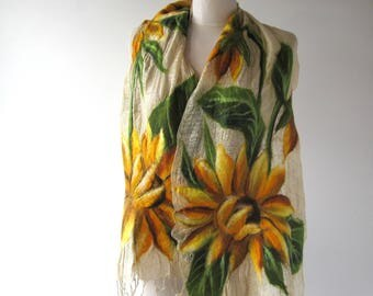 Linen scarf  Sunflower scarf Summer linen scarf Floral linen scarf  felted aplication natural flax