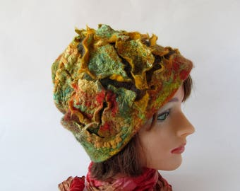 Felted hat, Green Yellow wool hat, Felt winter warm hat, Wool Hat , Warm felt hat Green Yellow felted hat gift for her outdoors gift