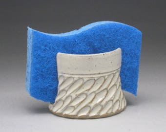 White Stoneware Sponge Holder