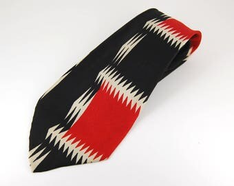 1950s Black Red and White Abstract Print Silk - Schneiders Jasper Wide  Tie