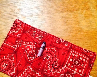 Sale Late summer SALE Crayon Roll up bandana red More crayon rolls in my shop