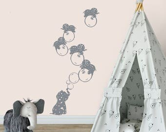 Cute Elephant Wall stickers, Easy peel wall art, Baby Elephant decals, Bubbles, Grey, Zoo Nursery, wall decor, Jungle Baby room wall decals,