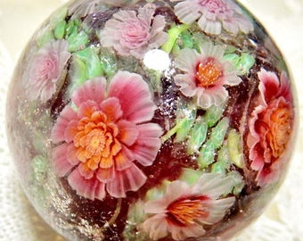 Pink Rose Garden Satake Glass Lampwork Flower Marble sra